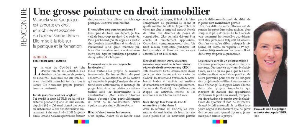 Le Soir Immo - Interview Manuela von Kuegelgen - 11.06.2020